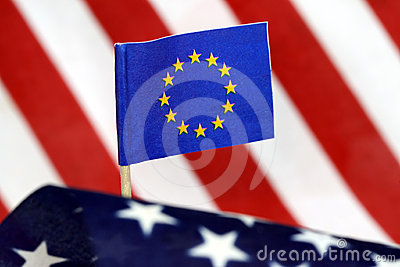 Flag of European Union and US