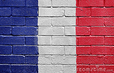 Flag of France on brick wall