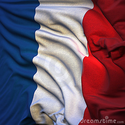 Flag of France, fluttering