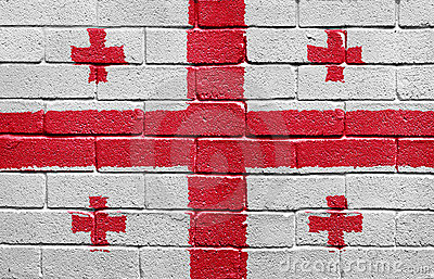 Flag of Georgia on brick wall