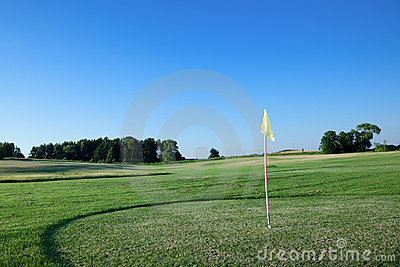 Flag on golf course.