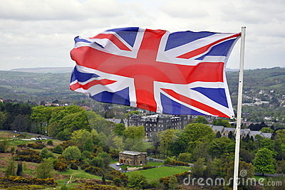 Flag of Great Britain on British landscape