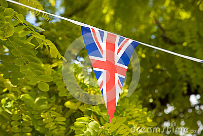 Flag of Great Britain with trees in the background