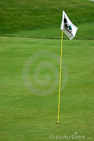 Flag on the green at the golf