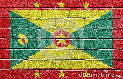 Flag of Grenada on brick wall