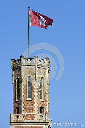 Flag of Hamburg on the Alte Post tower