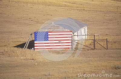 Flag Hung on an Old Barn