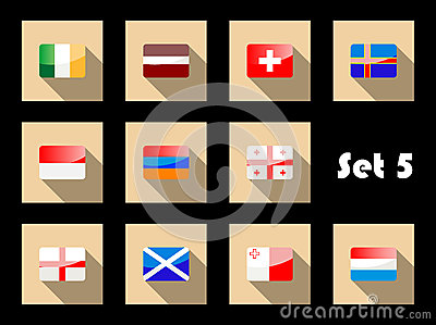 Flag icons in glossy flat style