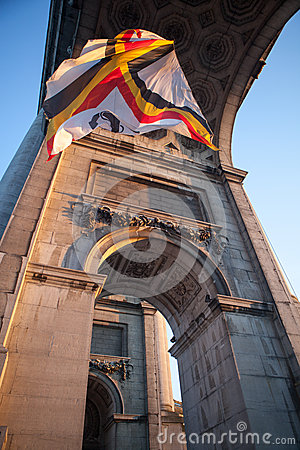 Free Flag In Triumphal Arch In Brussels , Bel Royalty Free Stock Photo - 29902875