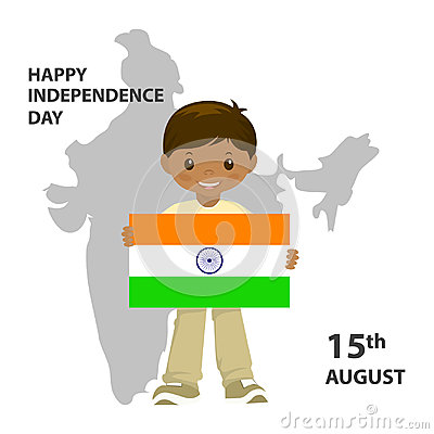 The Flag Of India. Official colors and proportion correctly. A boy is holding a flag. Stock Photo