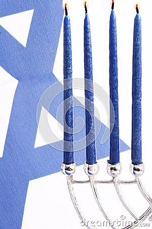 Flag of Israel and Menorah