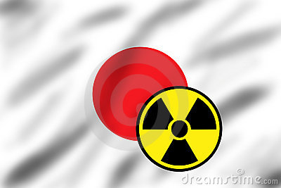 Flag of Japan with radiation sign