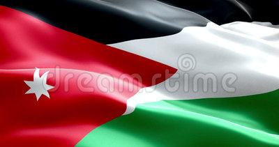 Flag of jordan strip waving texture fabric background, national symbol arabic culture Stock Photo