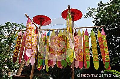 Flag of Lanna Thai in Temple