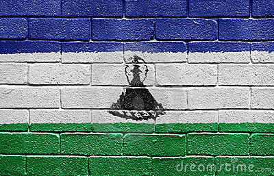 Flag of Lesotho on brick wall