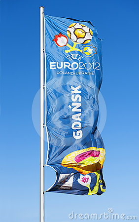 Flag with  logo for UEFA EURO 2012 Editorial Image