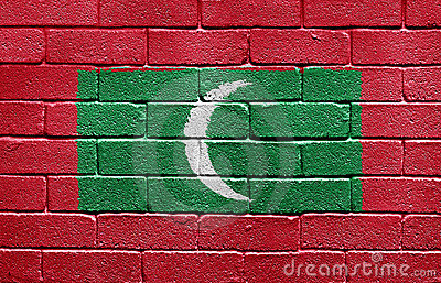 Flag of Maldives on brick wall
