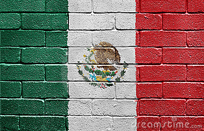 Flag of Mexico on brick wall