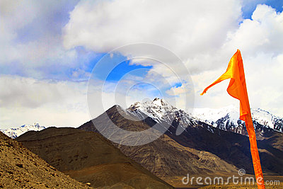 Flag and mountains