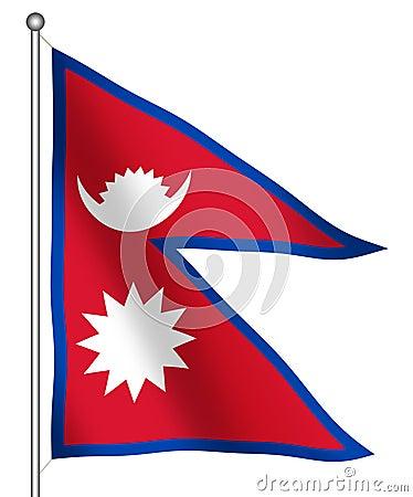 Flag of Nepal Waving