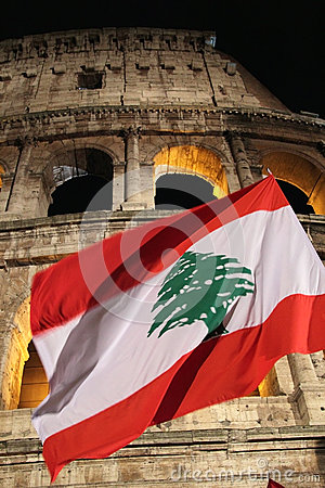 Free Flag Of Lebanon In Front Of Colosseum During Way Of The Cross Royalty Free Stock Photos - 30122488