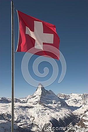 Free Flag Of Switzerland On Mountaintop Stock Photo - 2144910
