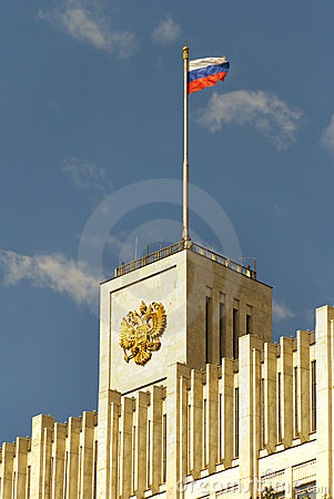 Flag over the House of the government of Russia