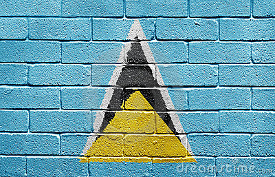 Flag of Saint Lucia on brick wall