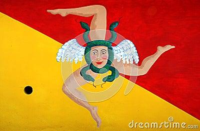 Flag Of Sicily With Trinacria Symbol. Italy Stock Photo ...
