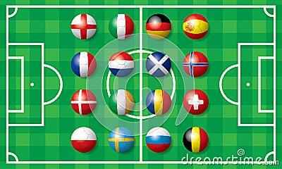 Flag of soccer football in Europe