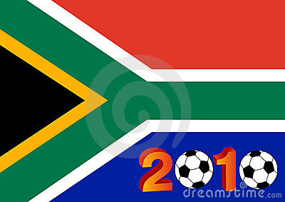 Flag of South Africa with 2010