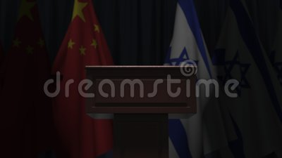 Flags of China and Israel and speaker podium tribune. Political event or negotiations related conceptual 3D animation. Flag and speaker podium tribune. Political stock video footage