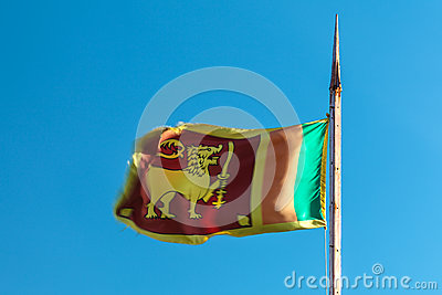 Flag of Sri Lanka with old flag pole