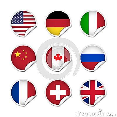 Flag stickers set 1