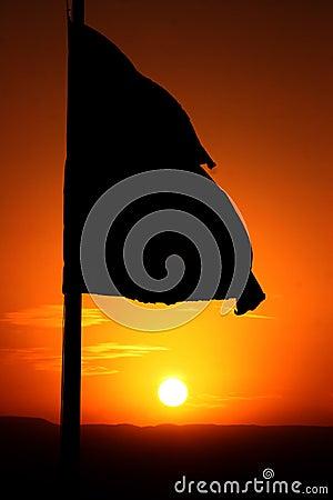 Flag in sun rise
