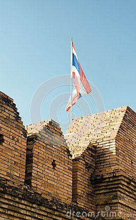 Flag of thailand over wall