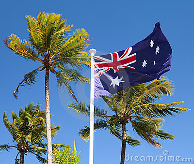 Flag in tropical australia with palm trees