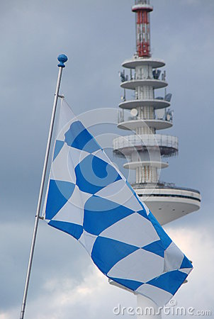 Flag and tv tower