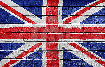 Flag of the UK on brick wall