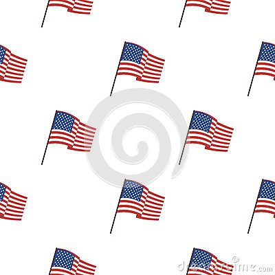 Flag of the United States icon in cartoon style isolated on white background. USA country pattern stock vector Vector Illustration