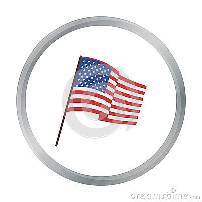 Flag of the United States icon in cartoon style isolated on white background. Vector Illustration