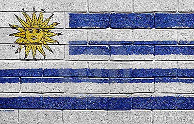 Flag of Uruguay on brick wall