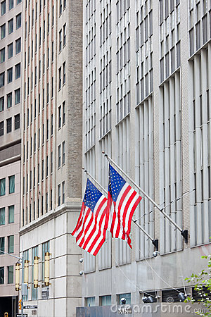 Flag of the USA (America) on Wall Street