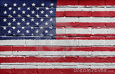 Flag of the USA on brick wall