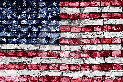 Flag of USA painted on an old brick wall