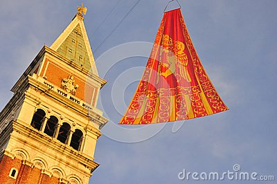 The flag of Venice in San Marco