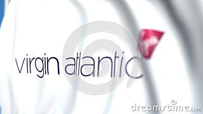 Flaga machania z logo Virgin Atlantic, zbliżenie Animacja 3D z możliwością pętli redakcyjnej ilustracja wektor