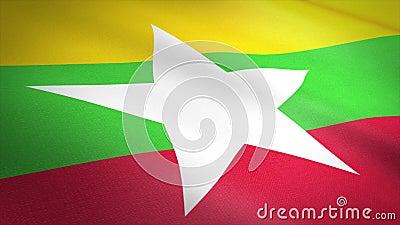 Flaga Mjanmy Birma Flaga machania z bardzo szczegółową strukturą tkaniny, bezproblemowo pętlowym wideo Bezproblemowa pętla z zbiory wideo