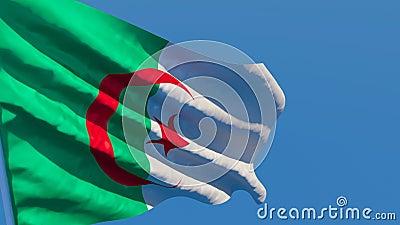 Flaga narodowa Algierii leci na wietrze zdjęcie wideo