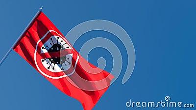 Flaga z obrazem koronawirusa leci na wietrze zdjęcie wideo